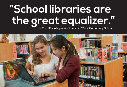 School libraries are the great equalizer quote photo