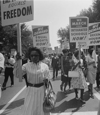 Civil rights supporters carrying placards at the March on Washington, D.C., Aug. 28, 1963  (Library of Congress)