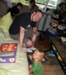 Playing board games.  Photo by author.