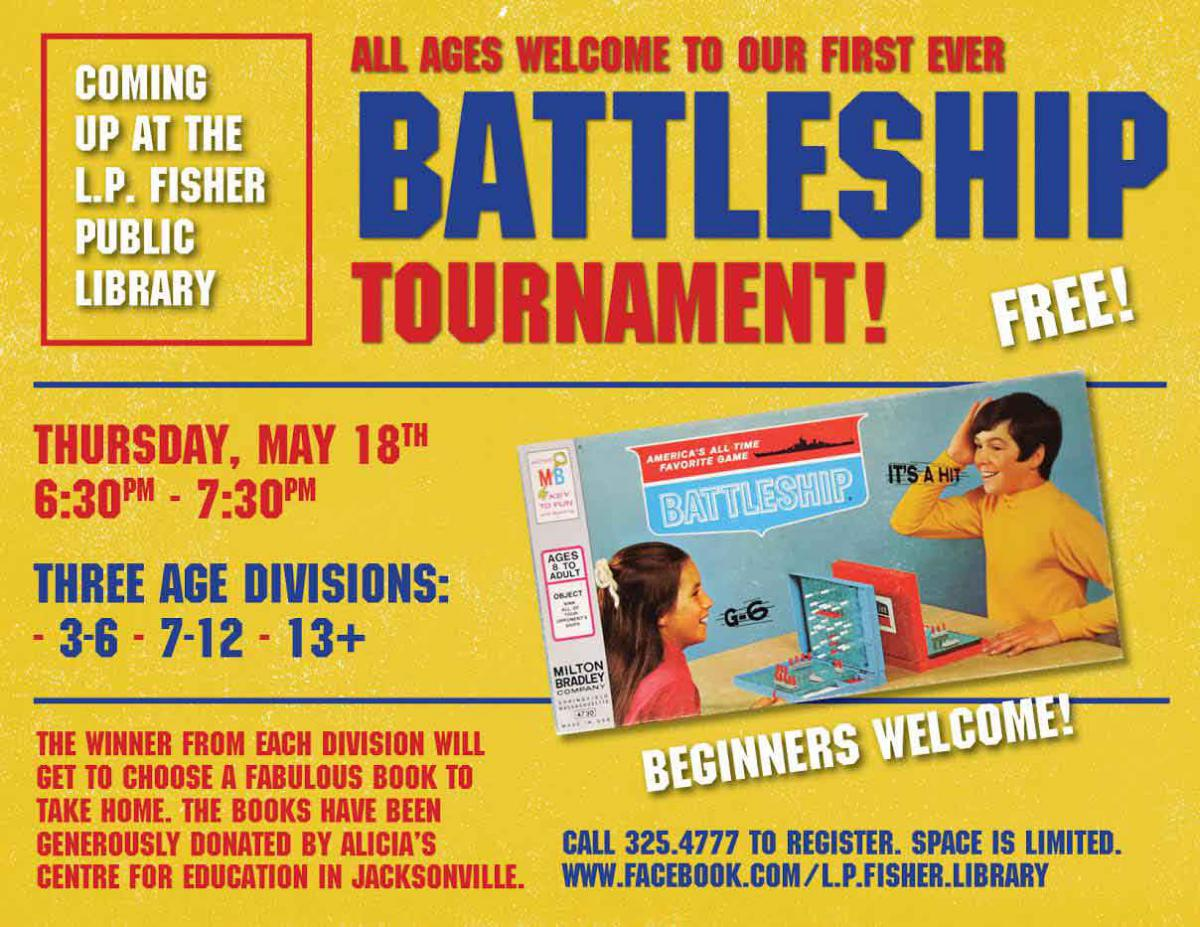 Advertisement for the Human Battleship game at the library