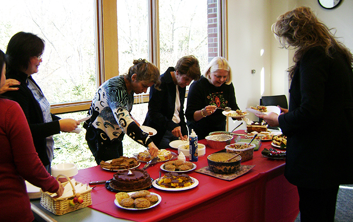 For U.S. holidays, members bring in traditional dishes and discuss their cultural significance.