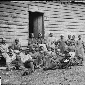 "Group of ""contrabands,"" Cumberland Landing, Va., 1862  (Library of Congress Civil War Photographs)"