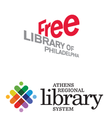 Free Library of Philadelphia and Athens Regional Library System Logos