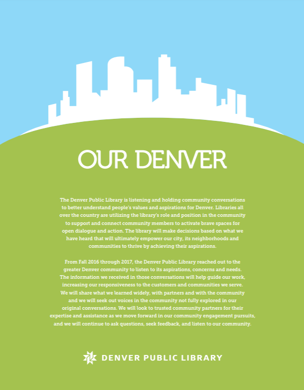 "An illustration of the Denver skyline with the words ""Our Denver"" below it."