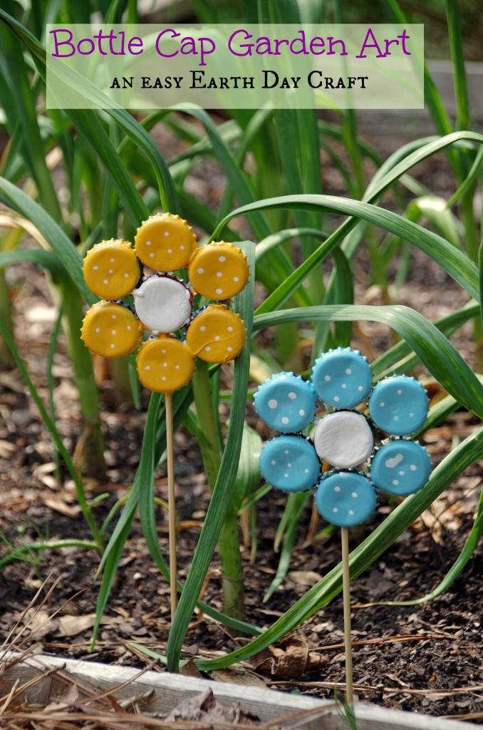 Bottle cap garden art