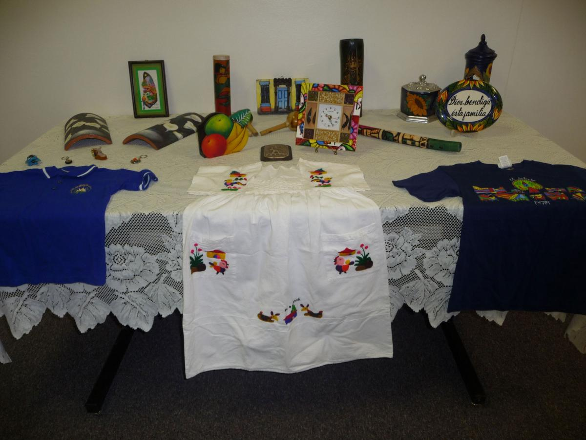 A resident from El Salvador brought clothing and cultural items to display.
