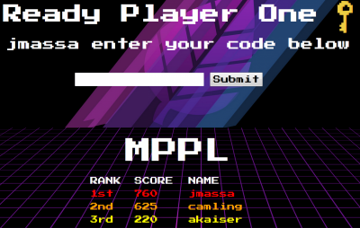 Ready Player One: jmassa enter your code below