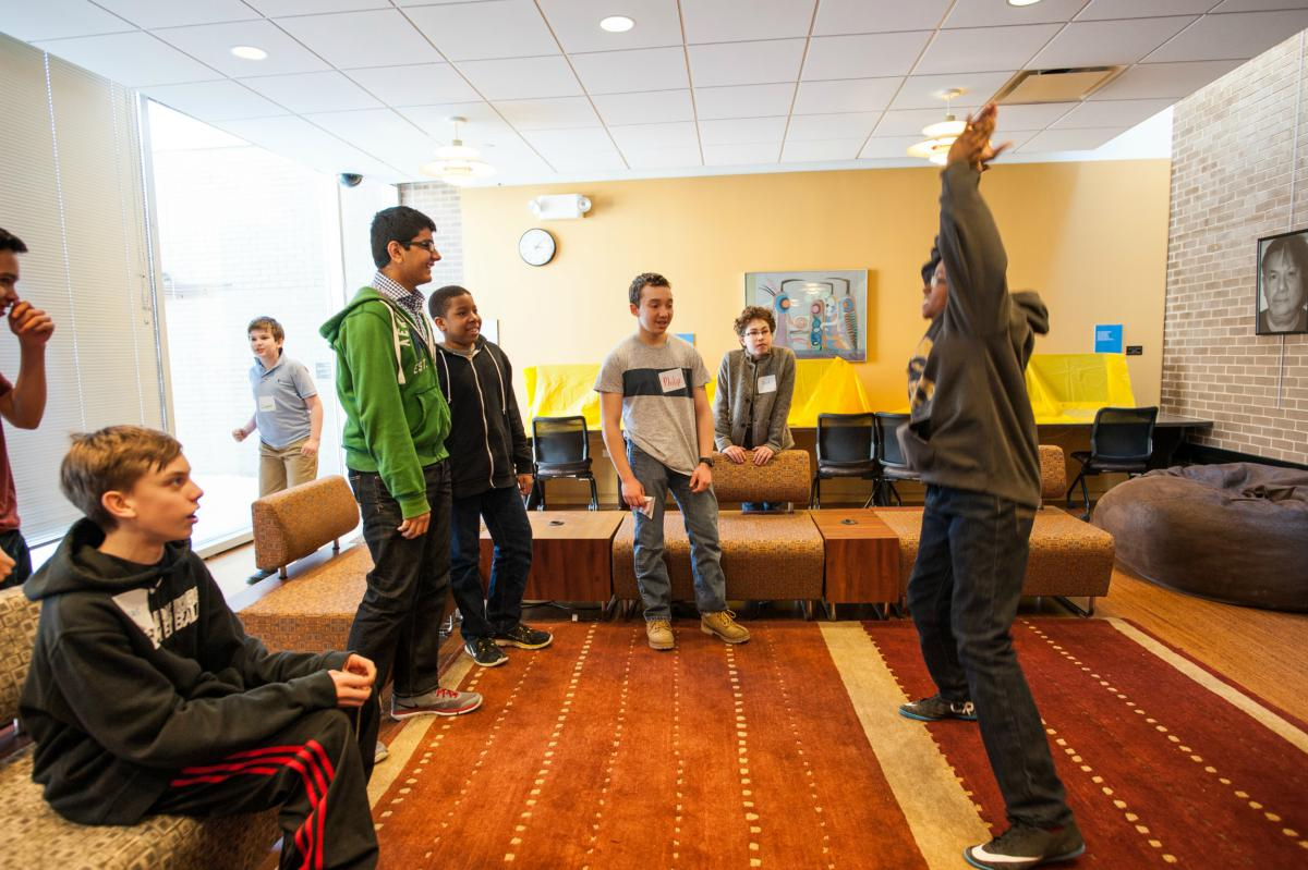 Teens participating in activity