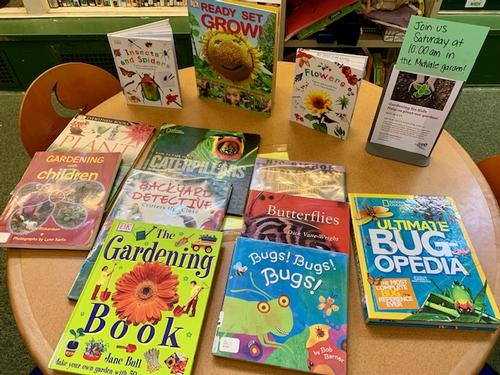 A book display at the Gardening for Kids program