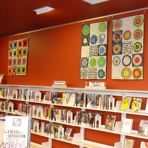 Fabric art by Joan Zieger at Madison (Wisc.) Public Library's Sequoya Branch.