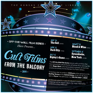 "Poster for the Kansas City Public Library's ""Cult Films From the Balcony"" film festival."