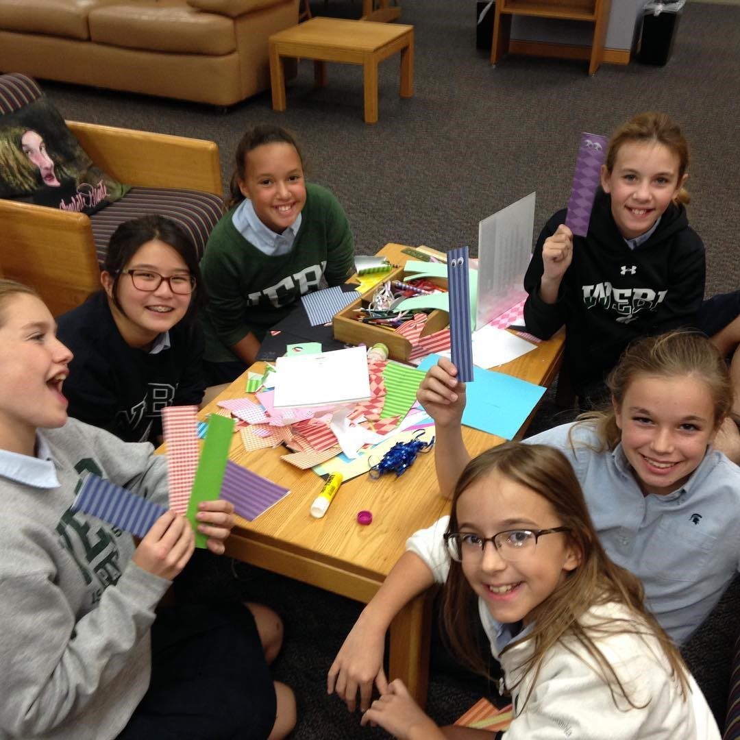 Group of girls making bookmarks