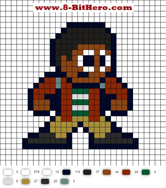 Perler bead design of Lucas from Stranger Things, from 8-BitHero.com