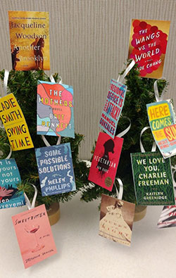 Book covers printed out and used as decoration