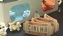 3D glasses, popcorn and movie tickets