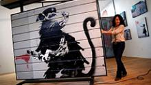 A piece of artwork by Banksy will be displayed at an Indiana library