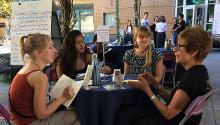 participants at table during LMU Human Library event
