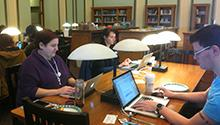 Students use library resources and Special Collections materials to edit Wikipedia entries.