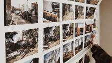 rows of photos on a wall