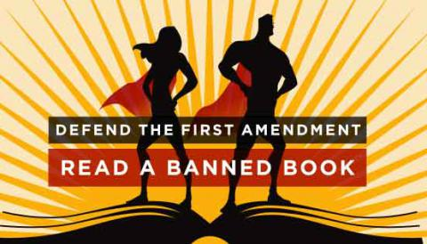 Banned Books week logo: Defend the First Amendment, Read a Banned Book
