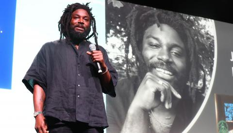 Jason Reynolds speaking at ALA Annual Conference 2019