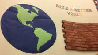 Build a Better World Globe and brick wall