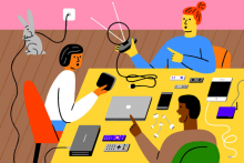 Graphic of three people with various streaming devices