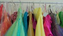 Formal dresses on a dress rack