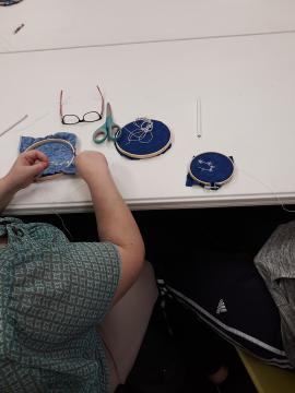 Woman working on cross-stitch