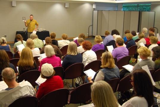 Speaker presenting at Book Club Bash