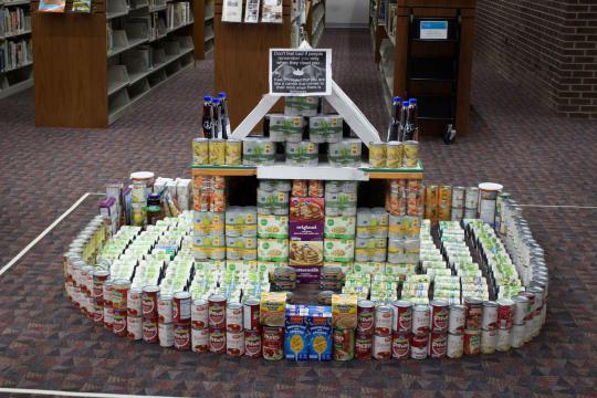 A castle made from various canned foods.
