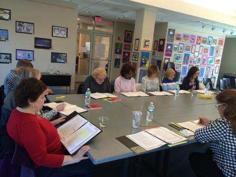 Participants reading scripts