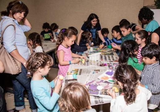 Children participating in crafting activities
