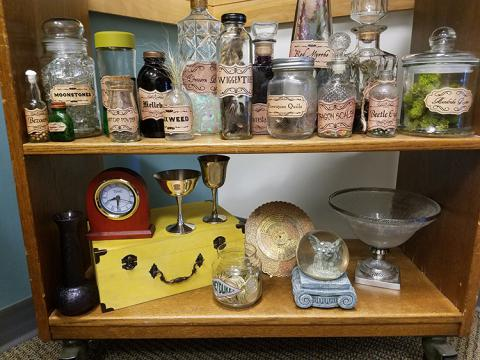 Shelf of potions, close up