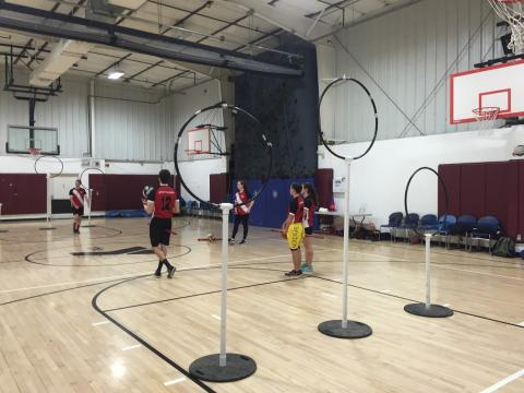 Participants learning how to play Quidditch