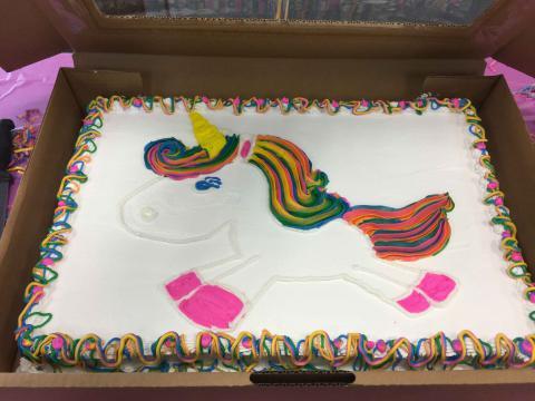 A cake with a unicorn