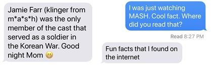 Text messages about online research