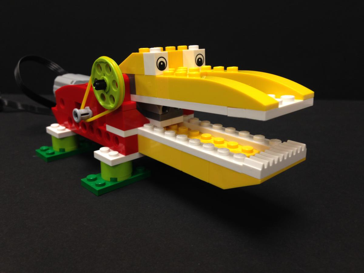 For simplicity's sake, Mid-Continent Public Library offers one Lego WeDo kit per programming season -- in this case, the Hungry Alligator.